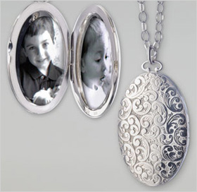 Floral-carved locket
