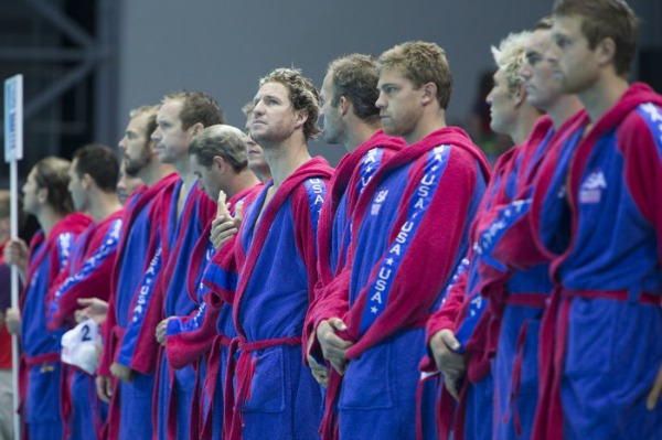 US Men's Water Polo Team Before Playing Montenegro at the Olympics