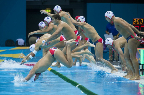 US Men's Water Polo Vs. Romania at the Olympics