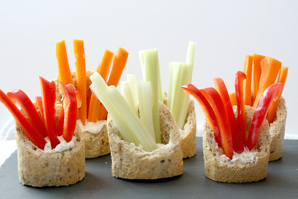 Veggies and dip in a baguette recipe