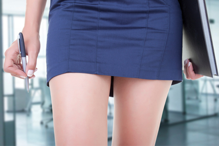 Woman wearing mini-skirt on job interview