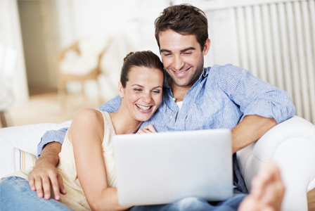Young couple on computer