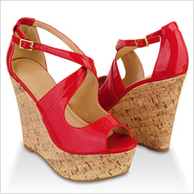 Patent peep-toes wedges