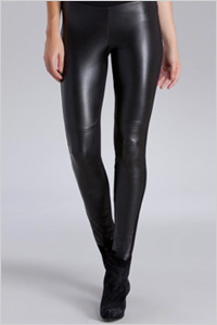 Hale Bob Black Leather Front Leggings