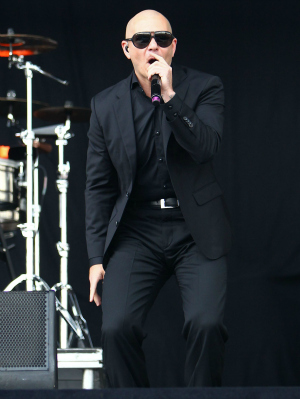 Pitbull Performing at the Barclaycard Wireless Festival