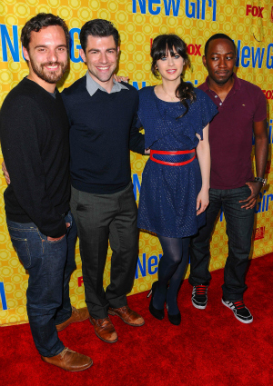 Zooey Deschanel with New Girl costars Jake Johnson, Max Greenfield, and Lamorne Morris