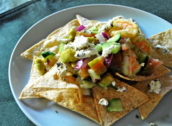 Taco chips & shrimp make a delicious tostada