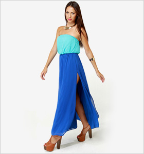 aqua and royal blue maxi dress