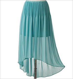 pleated chiffon hi-low skir