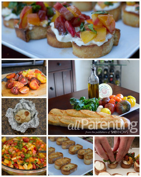 Chunky heirloom tomato bruschetta