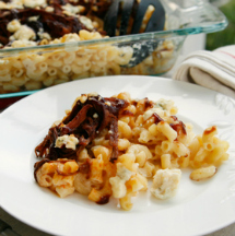 Smoke cheddar and blue cheese brisket macaroni and cheese