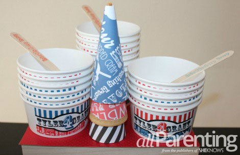 Ice cream social personalized cups and wrappers