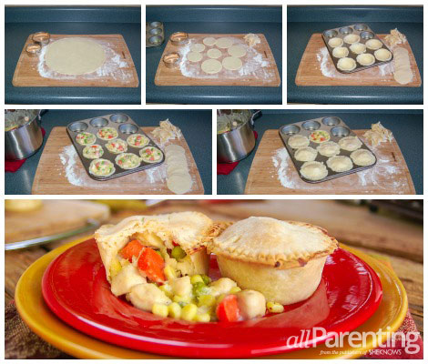 mini chicken pot pie collage
