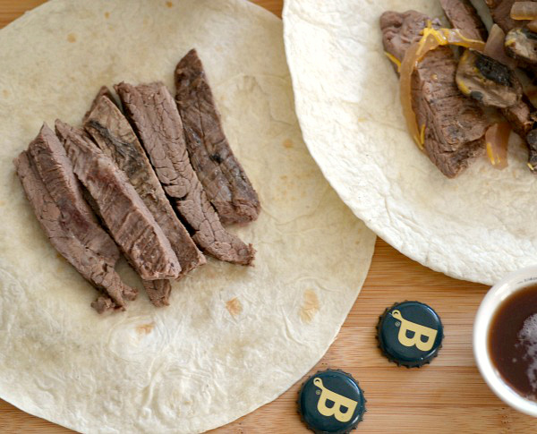Beer braised flank steak tacos