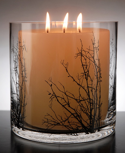 Birch tree branch silhouette candleholder
