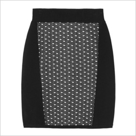 Black and white jersey mini skirt