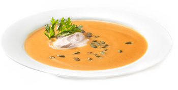 Creamy Pumpkin Soup with Cinnamon Crma and Roasted Pumpkin Seeds