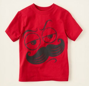 Children's place mustache scribble tee