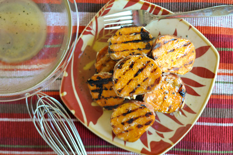 honeyed grilled sweet potatoes recipe