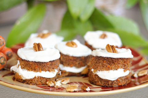 miniature stacked carrot cakes