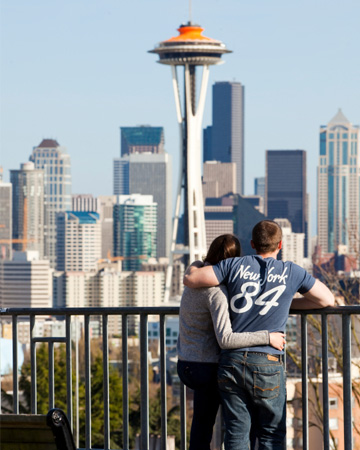 Couple in front of Space Needle