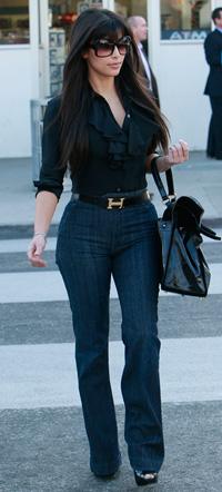 Kim Kardashian wearing trouser jeans
