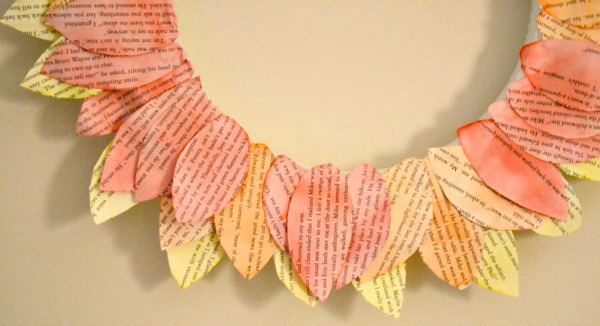 Cute fall wreath made of book pages