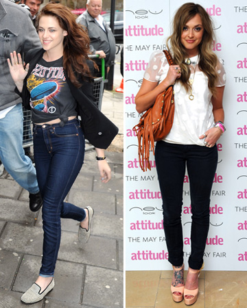 Kristen Stewart and Fearne Cotton wearing dark jeans