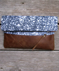 Driftwood and fossil leather clutch