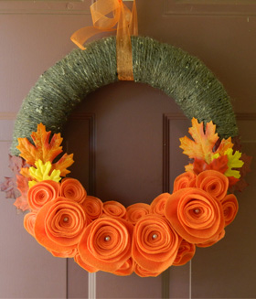 Felt flower wreath from Wreathink Gifting