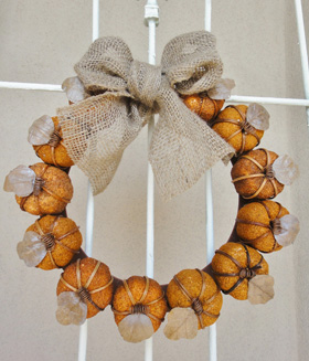 Pumpkins and burlap