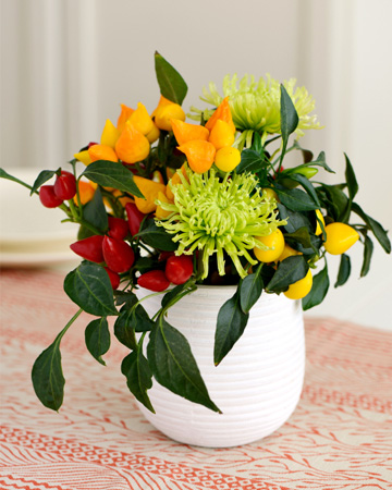 Fall vase with peppers