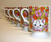 Footed mod cat mugs