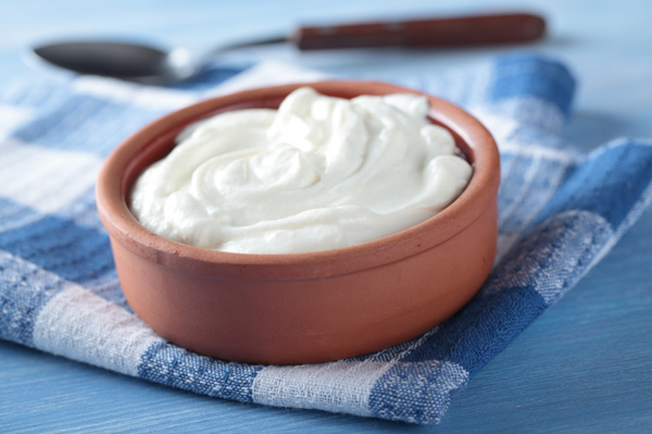Greek yogurt in bowl