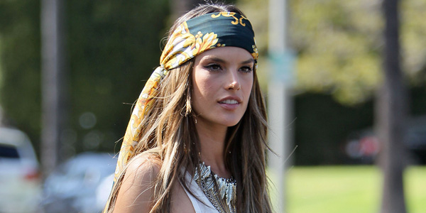 Alessandra Ambrosio wearing a headscarf