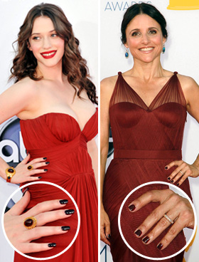 Kat Dennings and Julia Louis-Dreyfus nails at 2012 Emmys