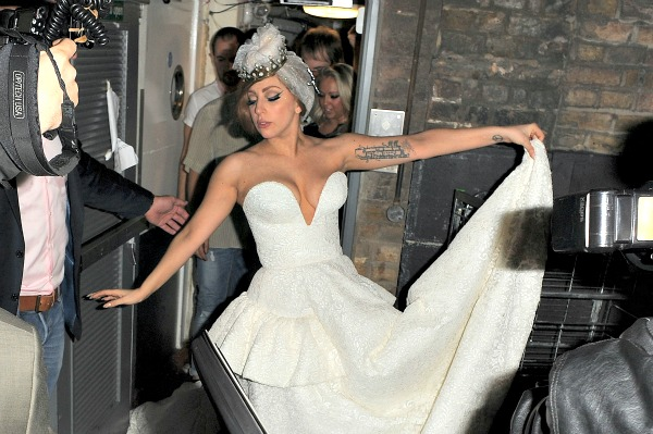 Lady Gaga goes bridal in London