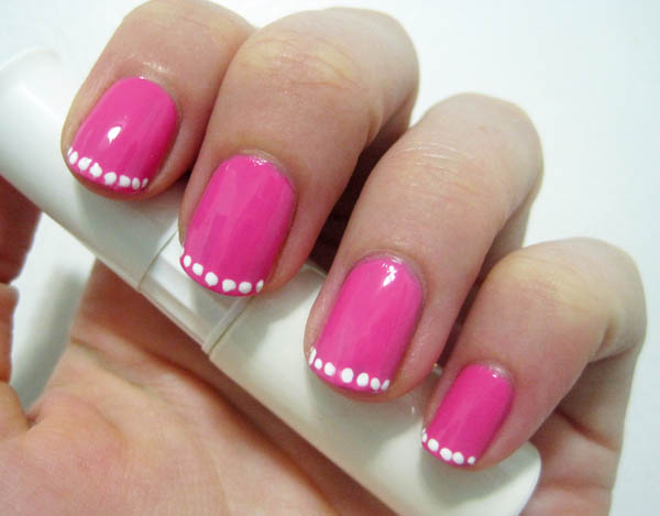 French manicure polka dots