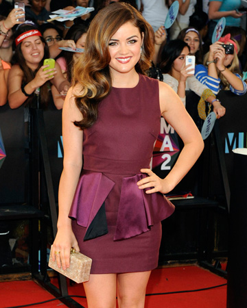 Lucy Hale wearing peplum dress at MuchMusic Awards