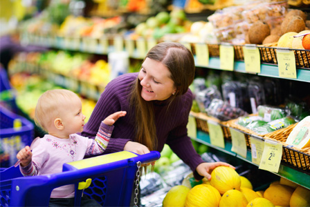 Mom with toddler in grocery store