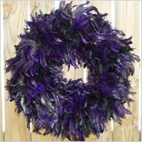Purple and black feather wreath