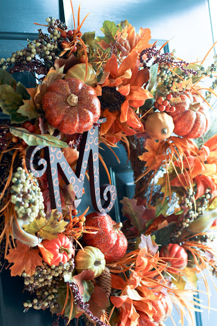 Fall monogram wreath -- Scissors and Spatulas