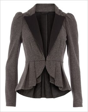 Grey Textured Peplum Jacket