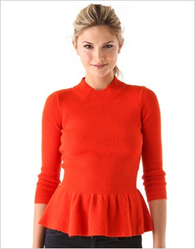 a sweet peplum sweater from Tory Burch