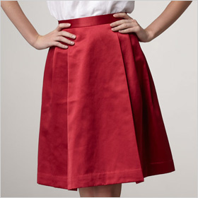 red satin skirt