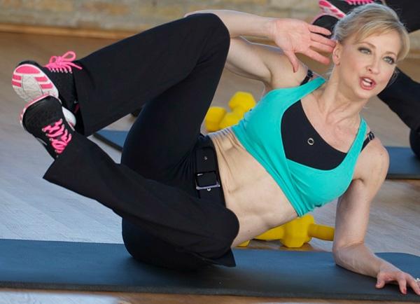 Side Lying Oblique Crunch with Clamshell Legs