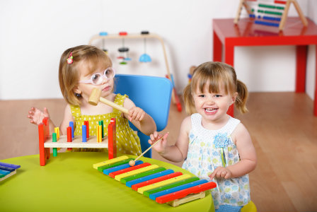 Toddlers with learning toys