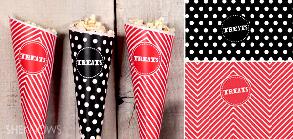 Printable Halloween treat cones