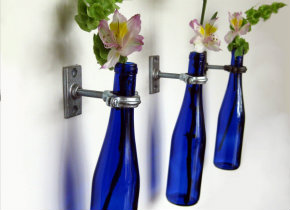 Wine bottle wall vases