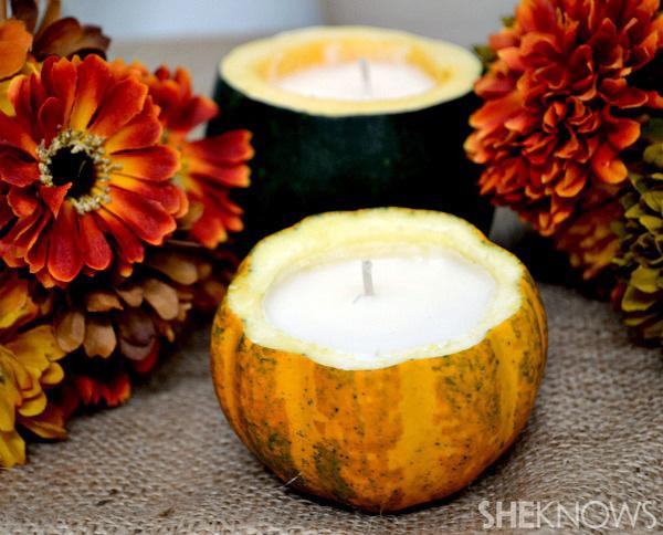 DIY pumpkin candles